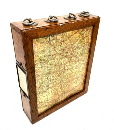 Rare Wooden Oak Cased Revolving Travel Map Reader / United Kingdom / Antique